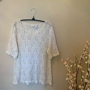 Chico's Ivory Lace Elbow Sleeve Top Size 2 Large